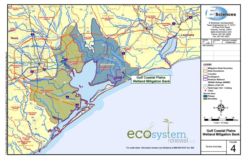 ESR01 map of Gulf Coastal Plains Wetland Mitigation Bank